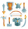 fantasy weapons in cartoon style vector image