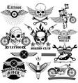 tattoo art design of skull bike rider collection vector image