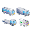 3D icons of land transportation vector image vector image