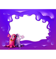 A border design with two one-eyed monsters vector image vector image