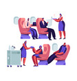 airplane crew and passenger characters in plane vector image vector image