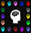 Brain icon sign Lots of colorful symbols for your vector image