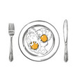 breakfast eggs on a plate knife and fork hand vector image