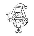 christmas cute dog cartoon vector image