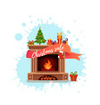 christmas fireplace room interior in colorful vector image vector image