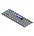 city street with 2-lane road and bus stop vector image