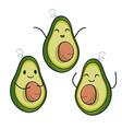 cute avocado characters set vector image