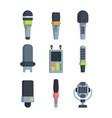 different microphones flat vector image vector image
