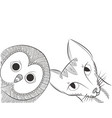 doodle owl and cat head vector image vector image