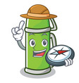 explorer thermos character cartoon style vector image