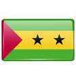 Flags Sao Tome Principe in the form of a magnet on vector image vector image