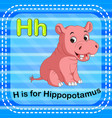 flashcard letter h is for hippo vector image vector image