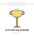 Flat icon of cup Winning trophy isolated on white vector image vector image