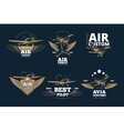 Flight adventures logos and labels vector image vector image
