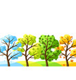 four seasons trees background vector image
