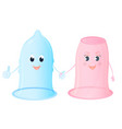 funny characters female and male condoms world vector image