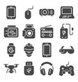 gadget gray icons set joystick and memory card vector image