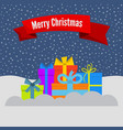 gift boxes on snow and stellar sky vector image vector image