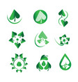 green leaf set nature and organic green vector image vector image