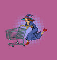 halloween witch shopping cart trolley sale vector image