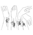 hand drawn sketch of hands with butterfly vector image