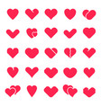 heart shapes collection love symbol red loving vector image vector image