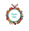 hipster doodle icons circle on white vector image vector image