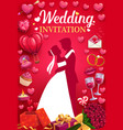 invitation to wedding party bride and groom love vector image vector image