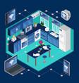 isometric smart kitchen template vector image vector image