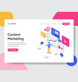 landing page template of content marketing vector image vector image
