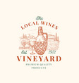 local wines vineyard retro badge or logo template vector image