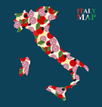 Map Italy silhouette with ingredients for pizza vector image