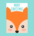 merry christmas postcard with cute fox or squirrel vector image vector image