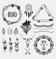 monochrome ethnic set with arrows feathers vector image vector image