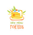 new menu for kids logo design healthy organic vector image vector image