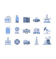 oil and gas production icons nature exploration vector image
