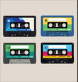 old colorful audio cassettes background vector image vector image