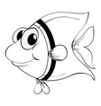 outline animal for little fish vector image vector image