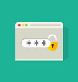 password field with open lock in browser widow vector image