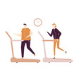 people running on treadmill - flat design style vector image