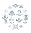 pirate logo icons set simple style vector image