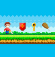 pixel art game background with young man with vector image vector image