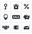 Real Estate Deal icon set vector image