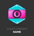 realistic letter o logo in colorful hexagonal vector image vector image