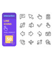 set interaction line icons with perfect pixel vector image vector image