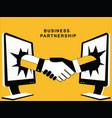 shaking hands from desktop vector image