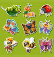 sticker design for different kinds of insects vector image