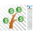 technology money tree flat icon with bonus vector image vector image