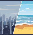 template gray winter town and tropical resort for vector image