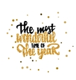 The most wonderful time of the year Calligraphy vector image vector image